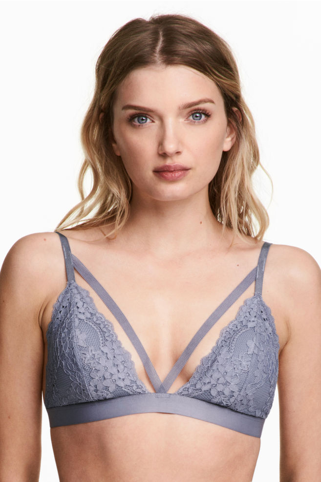 76d07c4b99 Non-wired lace triangle bra - Blue-grey - Ladies