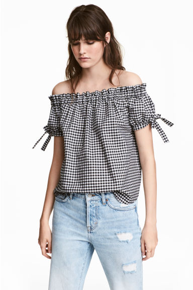 Off-the-shoulder top - Black/Checked - Ladies | H&M