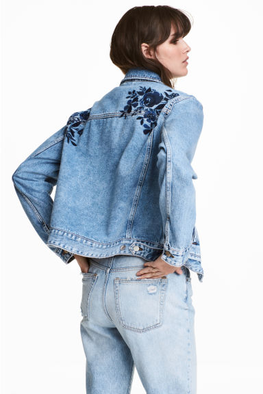 Embroidered denim jacket - Denim blue - Ladies | H&M CA