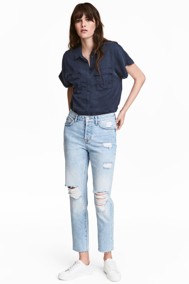 18f50a96 Girlfriend Jeans - Light denim blue/Trashed - | H&M ...
