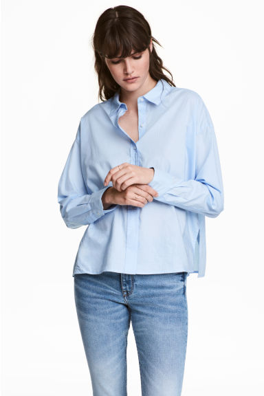 Wide cotton shirt - Light blue -  | H&M IE
