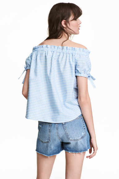 Off-the-shoulder top - Light blue/Checked -  | H&M