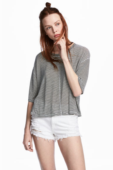 Wide jersey top - White/Striped -  | H&M