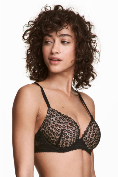 Lace push-up bra - Black -  | H&M IE