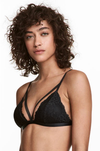 Non-wired lace triangle bra - Black -  | H&M