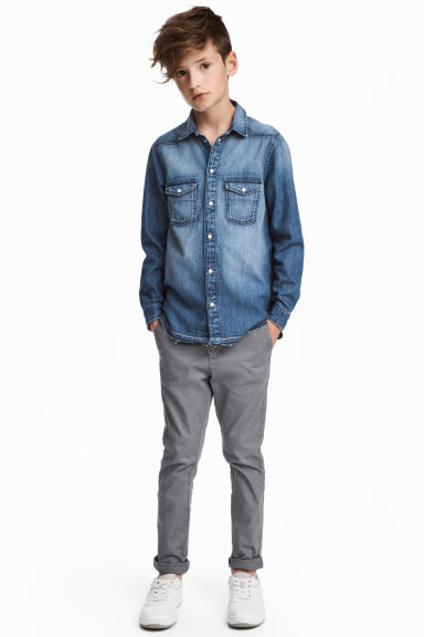 Slim fit Chinos - Grey - Kids | H&M CN