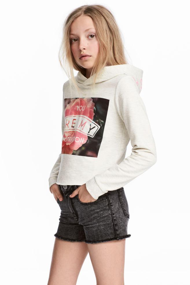 Krátká mikina s kapucí - Světle béžový melír - DĚTI  aa061e16fd