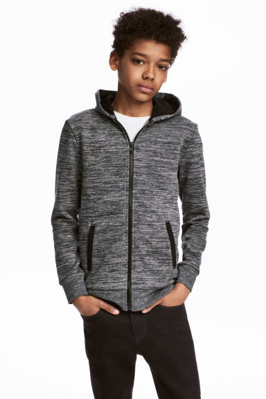 Hooded jacket - Black marl - Kids | H&M CN