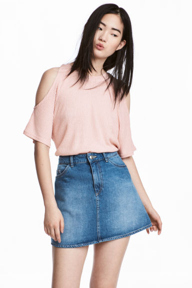 Cold shoulder top - Powder pink - Ladies | H&M