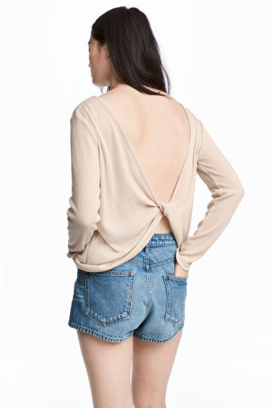 Ribbed top - Light beige -  | H&M