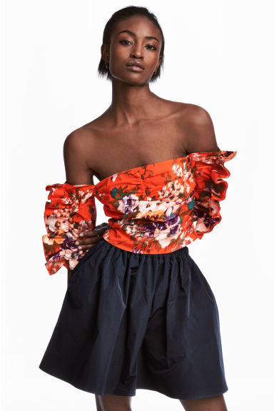 Cropped top - Red/Floral - Ladies | H&M