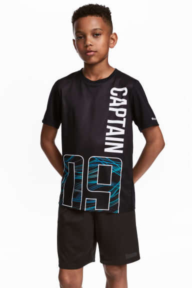 Short-sleeved sports top - Black - Kids | H&M CN