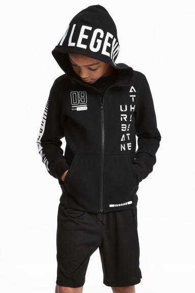 Printed sports jacket - Black - Kids | H&M CN