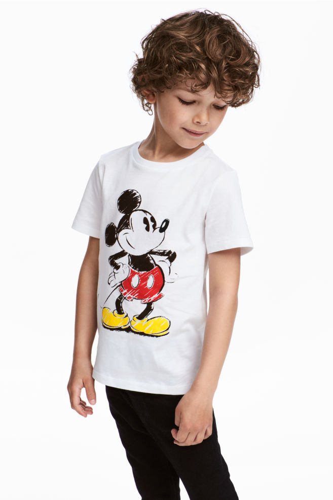 93a19031f T-shirt with a print motif - White/Mickey Mouse - Kids | H&M
