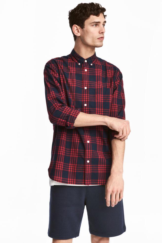 bba500bded Camisa de algodón Regular fit - Rojo Cuadros - HOMBRE