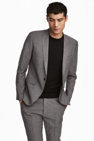 Jacket Skinny fit - Black/White marl - Men | H&M