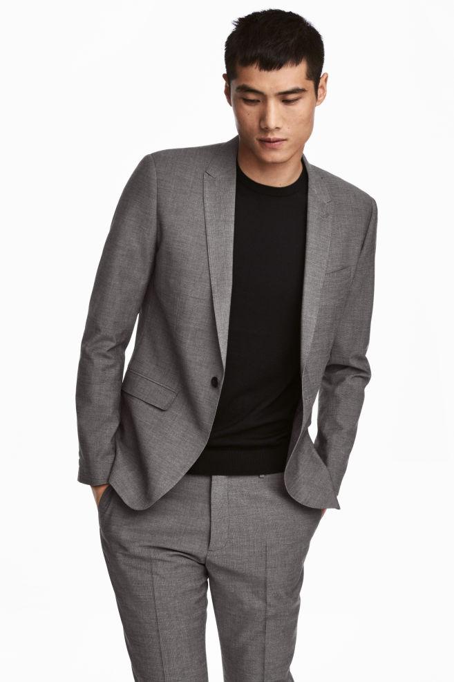 06b09f9fddb2c Ceket Skinny Fit - Siyah/Beyaz kırçıllı - ERKEK | H&M ...
