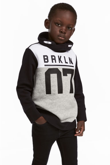 Funnel-collar sweatshirt - Black/Grey - Kids | H&M CN