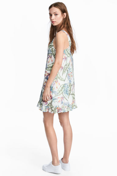 V-neck dress - White/Leaves - Ladies | H&M