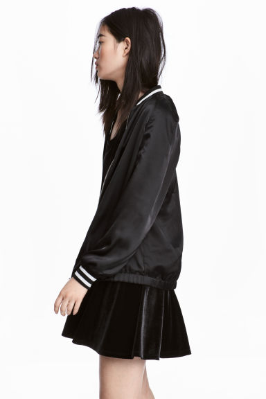 Satin bomber jacket - Black -  | H&M