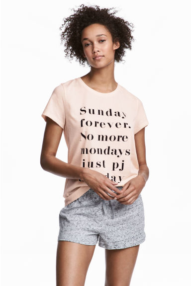 Pyjama top and shorts - Powder -  | H&M IE