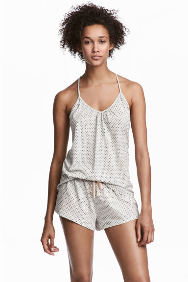 Pyjamas with cami and shorts - Light grey/Spotted - Ladies | H&M IE