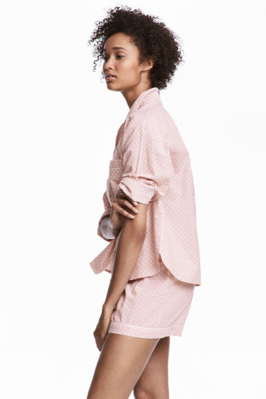Pyjama shirt and shorts - Light pink/Stars -  | H&M