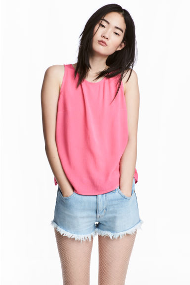 Crinkled top - Pink -  | H&M