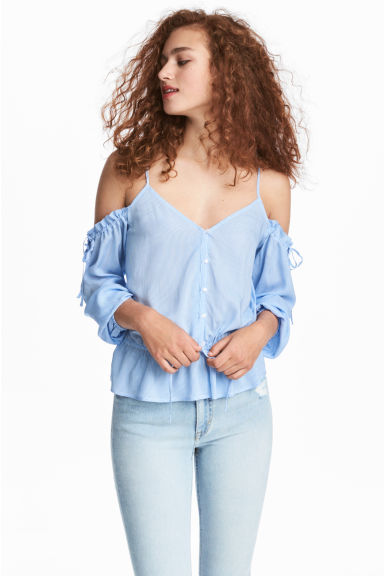 Off-the-shoulder blouse - Lt.blue/Narrow strip -  | H&M GB
