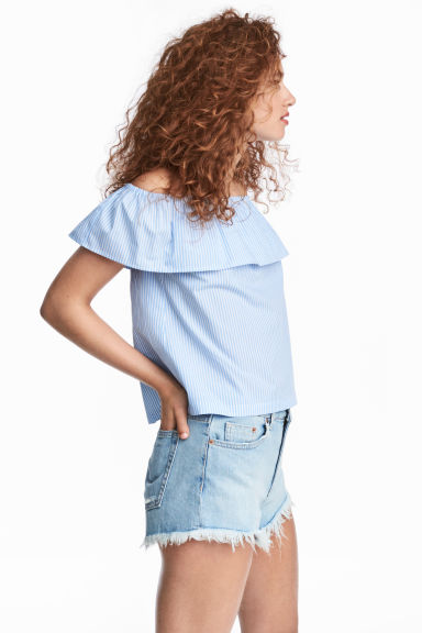 Off-the-shoulder blouse - Light blue/Striped - Ladies | H&M CN