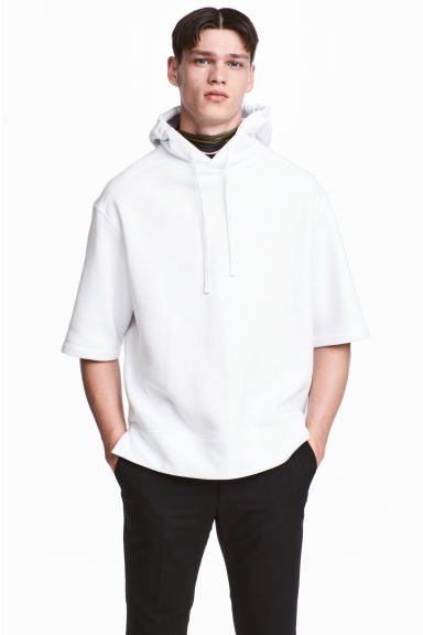 Short-sleeved hooded top - White -  | H&M
