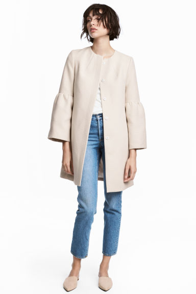 Wide-sleeved coat - Light beige - Ladies | H&M