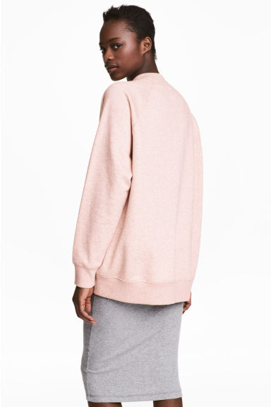 Sweatshirt with raglan sleeves - Powder pink marl -  | H&M
