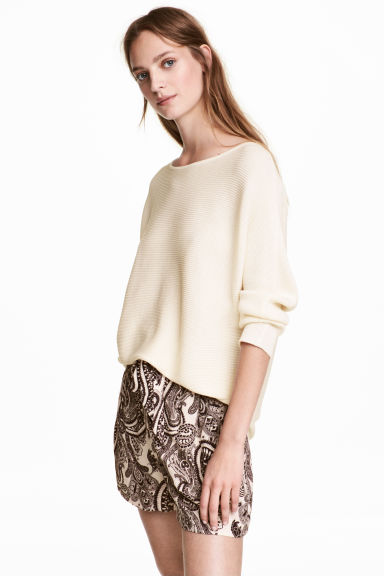 Rib-knit jumper - Natural white -  | H&M