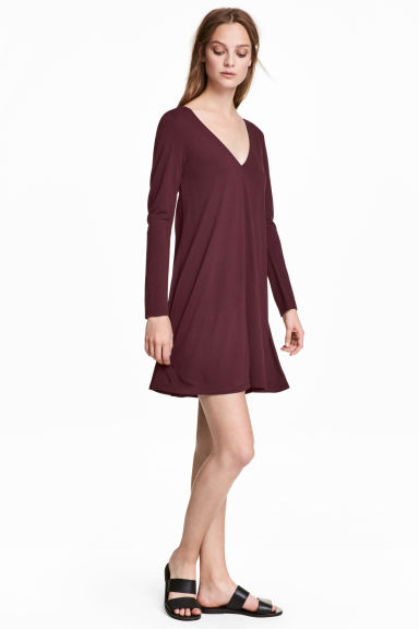 Jersey V-neck dress - Burgundy - Ladies | H&M