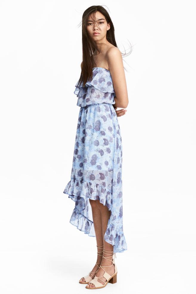 58541d93c529 Volangkjole - Lys blå Blomstret -