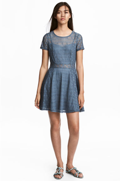 Short lace dress - Pigeon blue - Ladies | H&M