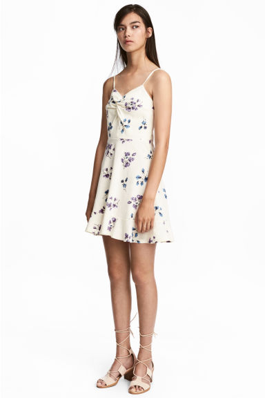 Patterned jersey dress - Natural white/Floral -  | H&M