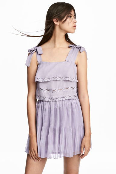 Cropped top with lace - Light purple -  | H&M IE