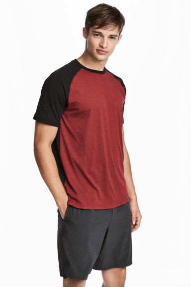 Short-sleeved sports top - Red marl/Black -  | H&M CN
