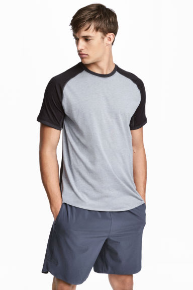 Short-sleeved sports top - Grey marl/Black -  | H&M