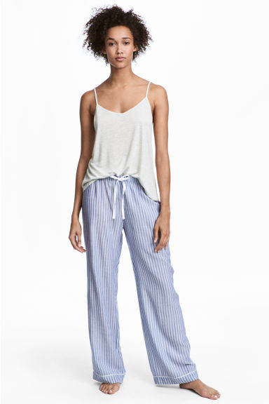 Pyjama bottoms and strappy top - Blue/White/Striped - Ladies | H&M