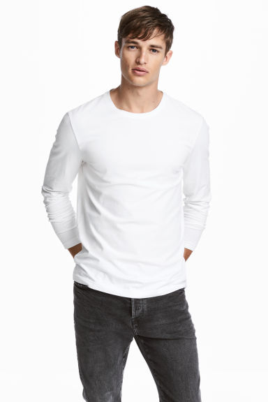 Jersey top Slim fit - White -  | H&M