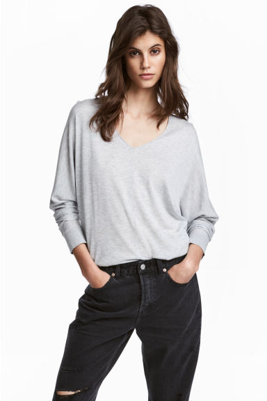 Fine-knit jumper - Light grey marl -  | H&M