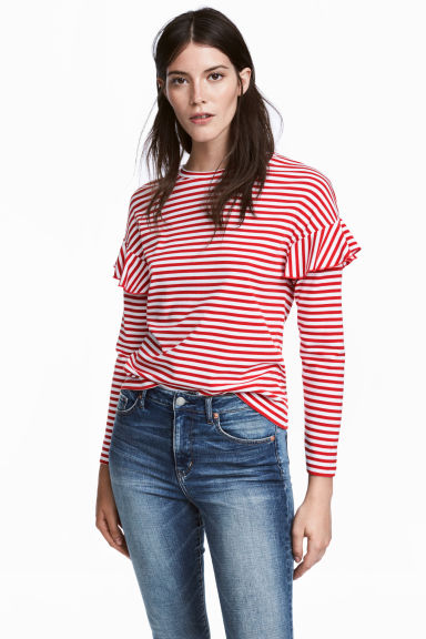 Jersey top with frills - Red/White striped - Ladies | H&M GB