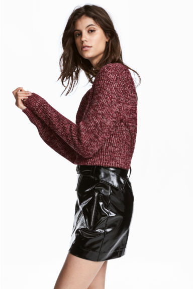 Rib-knit Sweater - Burgundy marl - Ladies | H&M US