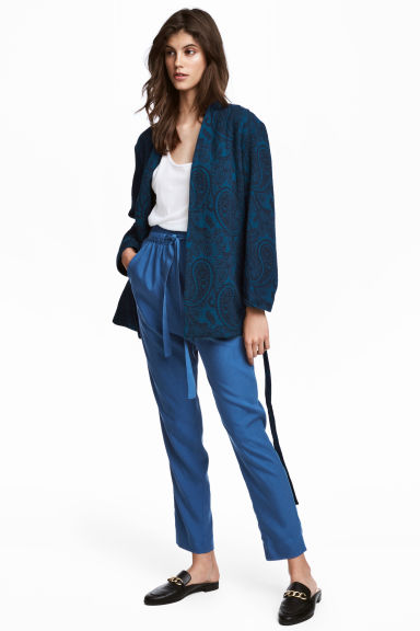 Lyocell pull-on trousers - Blue -  | H&M