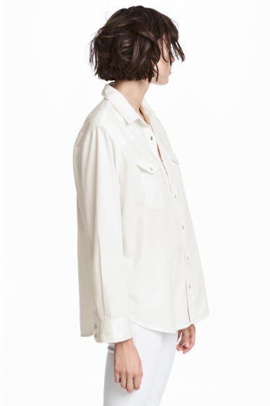 Oversized denim shirt - White denim -  | H&M