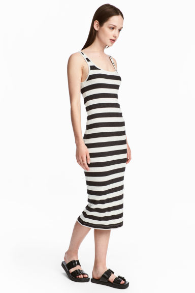 Ribbed dress - Black/White/Striped -  | H&M