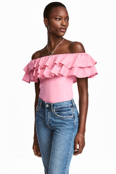 Off-the-shoulder top - Pink - Ladies | H&M CN
